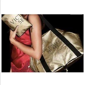 VICTORIAS SECRET Packable IT Gold Tote/Weekender